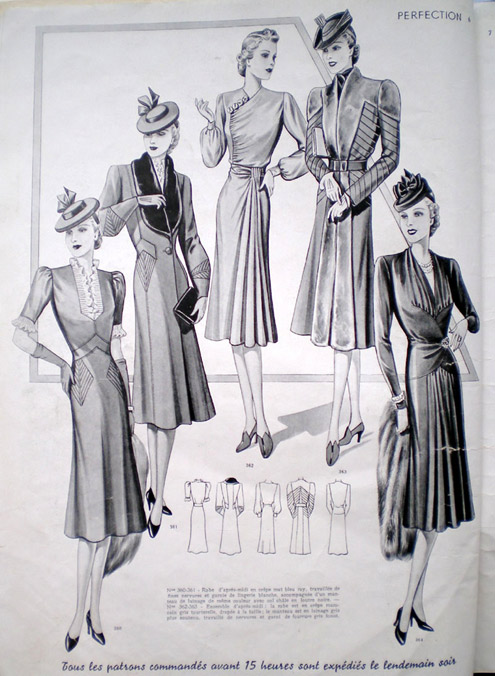 Skirt hems remained right below the knee and blouses and jackets had