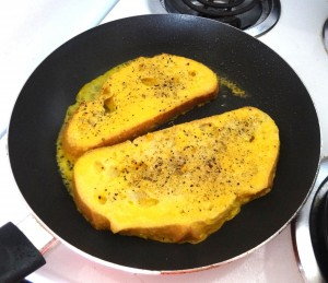 Tasty savory French Toast made with the Vegg.  It even has the same egg-like color!
