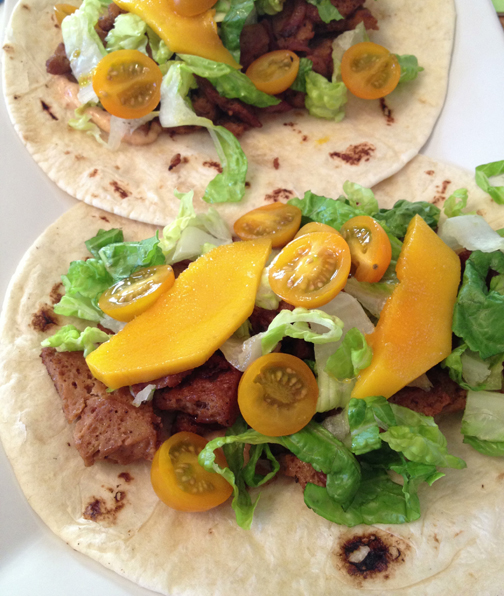 Recipe: Soy Lime Seitan Tacos with Mango and Chipotle Aioli