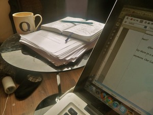 Revising the 2016 novel at my friend's London flat last spring. He made sure there was soy milk in the fridge for my tea!