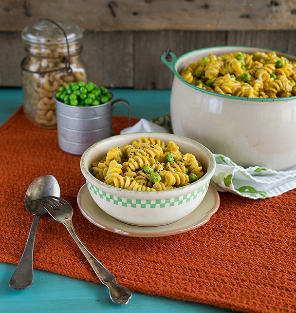 Mac 'n Peas with Creamy Butternut Squash Sauce from Laura Theodore's Vegan-Ease