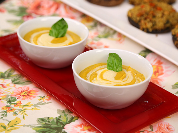 """Butternut Squash Soup with Quick Cashew """"Cream"""" from Laura Theodore's Vegan-Ease"""