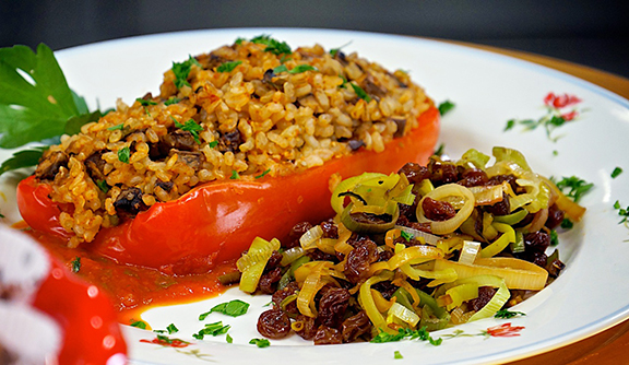 Stuffed REd Pepper Boats with Leeks with Raisins from Laura Theodore's Vegan-Ease