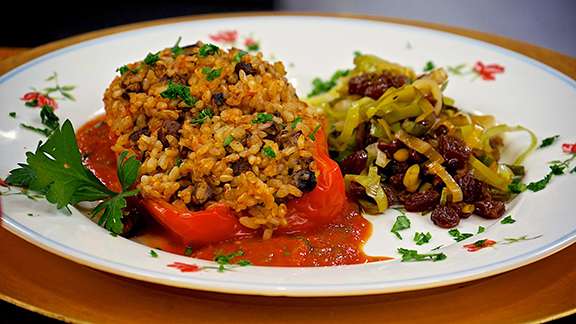 Stuffed Red Pepper Boats from Laura Theodore's Vegan-Ease