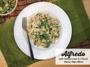 Alfredo with Watercress and Chives from Chickpea Flour Does It All