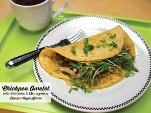 Chickpea Omelet with Shiitakes and Microgreens from Chickpea Flour Does It All