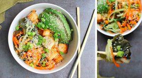 Seaweed Salad with Veggies and Crispy Tofu