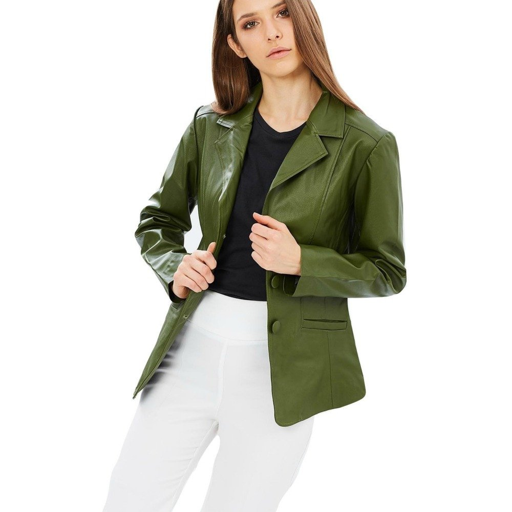 A sophisticated blazer in timeless olive green.