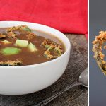 Black Bean Soup with Crispy Air Fried Poblano Pepper Rings