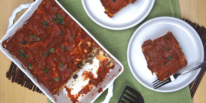 Quick Spinach-Mushroom Vegan Lasagna