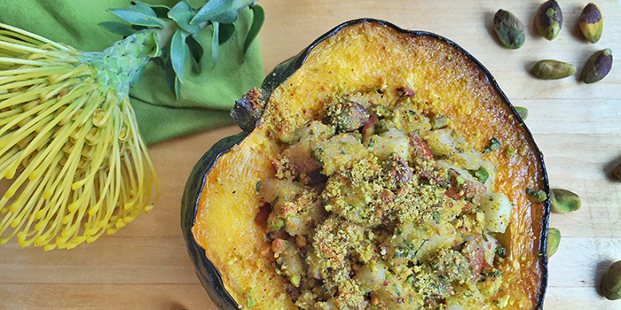 Baked Acorn Squash with Pistachios, Pears and Fresh Herbs