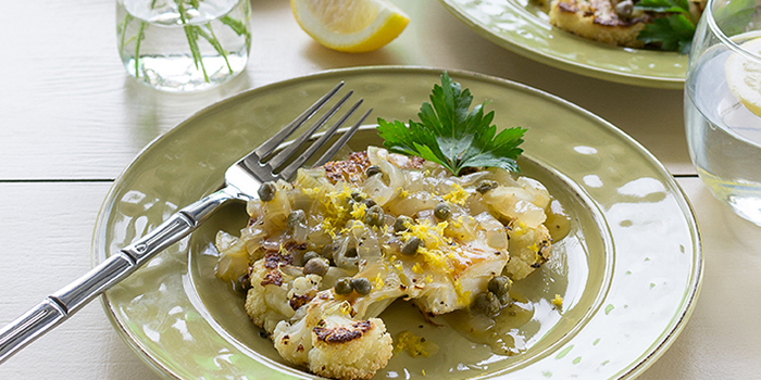 Laura Theodore's Roasted Cauliflower Cutlets with Lemon-Caper Sauce