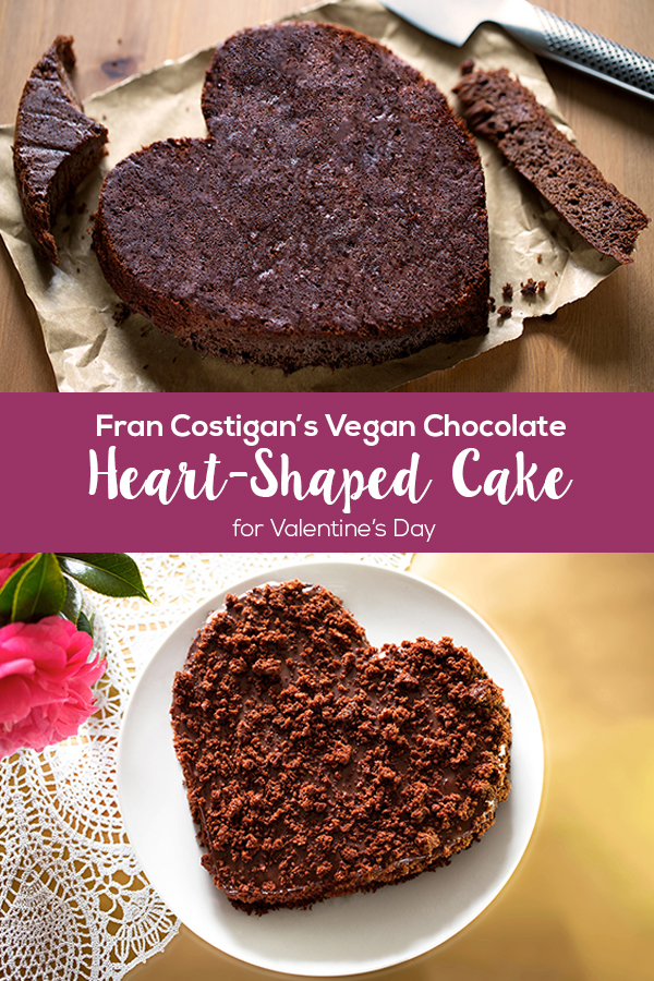 Try Fran Costigan's easy technique for a Heart-Shaped Vegan Chocolate Cake just right for Valentine's Day. No specialty cake pan is needed!