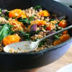 Roasted Tomato, Garlic & Greens Farro Salad