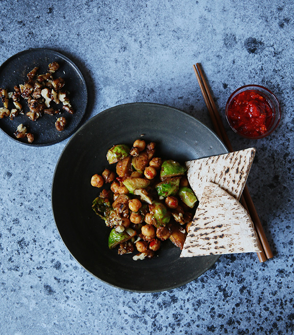 Harissa Sprouts and Chickpeas from Bold Flavored Vegan Cooking