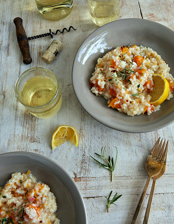 Savory Butternut Risotto From Veganomicon, 10th Anniversary Edition by Isa Chandra Moskowitz and Terry Hope Romero is the perfect fall dinner. It's vegan and gluten-free.