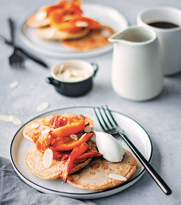 Roasted Peach and Banana Pancakes from Naturally Sweet Vegan Treats by Marisa Alvarsson