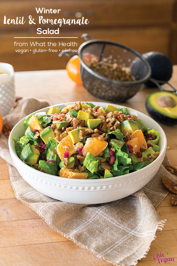 Winter Lentil and Pomegranate Salad from What the Health by Kip Andersen and Keegan Kuhn with Eunice Wong (vegan, gluten-free, and oil-free)