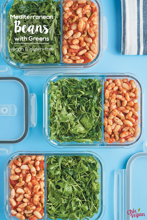 Mediterranean Beans with Greens from Vegan Meal Prep are quick and easy to make, and they're perfect for either lunch or dinner. (vegan and gluten-free)