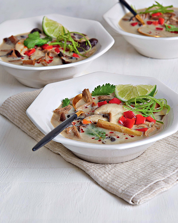 Coconut Soup with Mushrooms and Jackfruit from The Vegan Slow Cooker by Kathy Hester