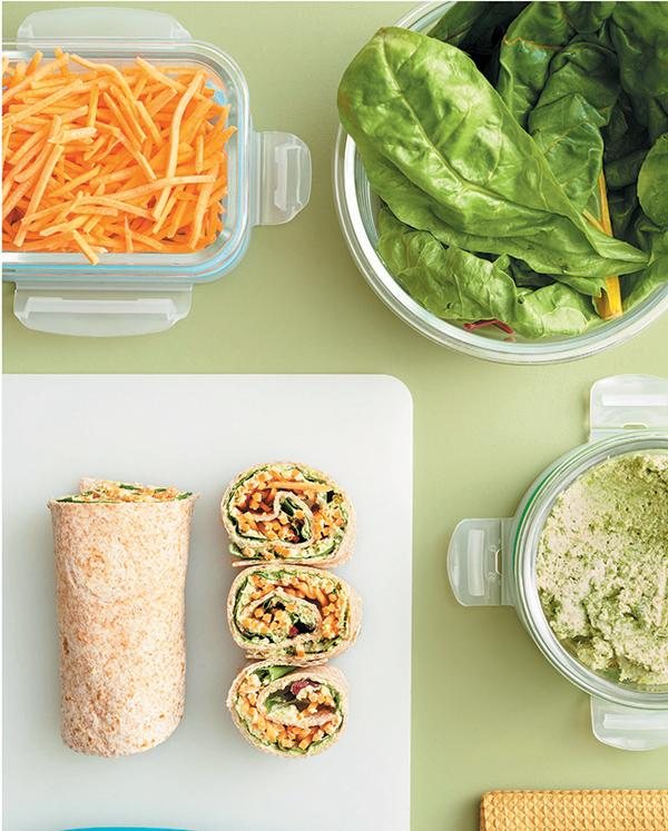 Veggie Hummus Pinwheels from Vegan Meal Prep by JL Fields