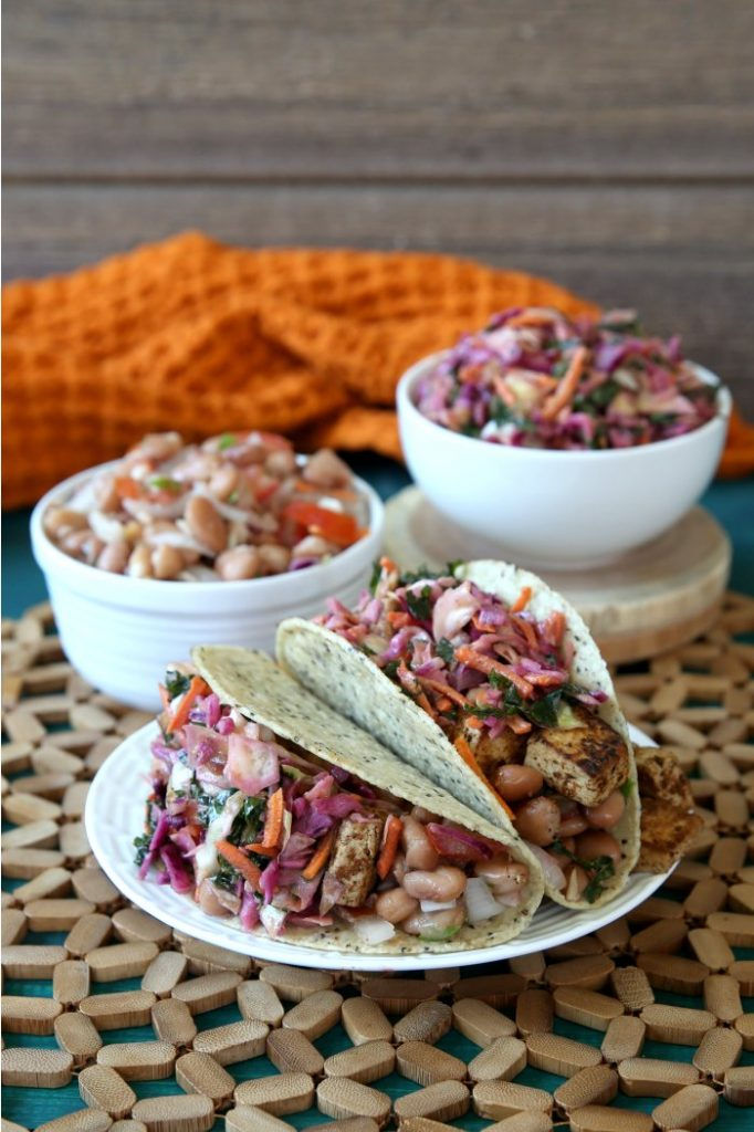 Three Layer Tacos The High Protein Vegan Cookbook by Ginny Kay McMeans