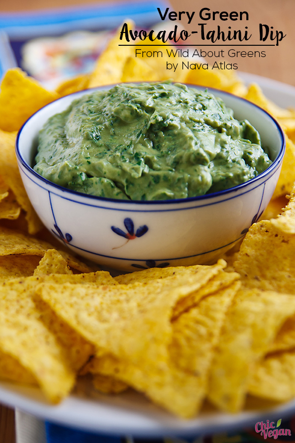 Kind of a marriage of guacamole and hummus, and infused with a good amount of tender greens, this rich Very Green Avocado-Tahini Dip from Nava Atlas makes its own unique statement. In my many demos about leafy greens,