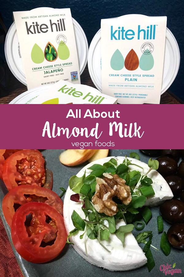 Kite Hill makes a variety of non-dairy cheeses and yogurts – all made from almonds! Kite Hill's available products include European & Greek Yogurt, Soft Fresh Cheese (similar to mozzarella or feta), Cream Cheese, Ricotta Cheese and vegan Ravioli (and now tortellini!).