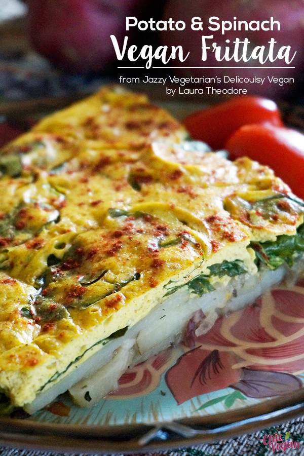 This authentic-tasting vegan frittata from Jazzy Vegetarian's Deliciously Vegan by Laura Theodore is baked in the oven, making it especially easy to prepare. It's perfect breakfast or brunch, but it's also great to serve for any meal of the day.