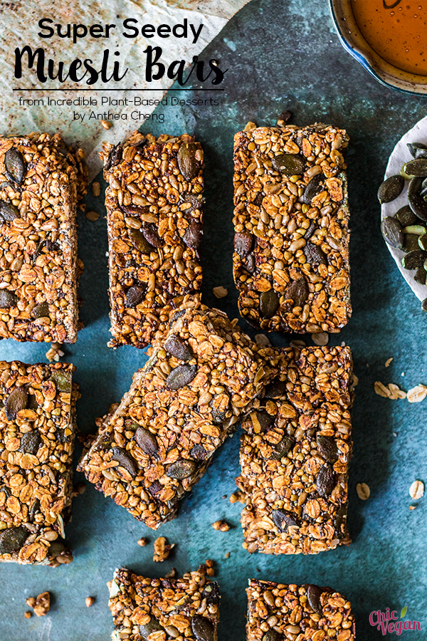 This nut-free Muesli Bars recipe from Incredible Plant-Based Desserts by Anthea Cheng are really easy to make, and they can be packed with whatever ingredients you like! These homemade snack bars can be enjoyed on the go, such as on a hiking trip.