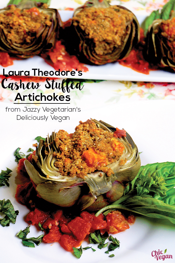 This recipe is festive and filling with cashews and sunflower seeds showcased in a flavorful stuffing. Serve these vegan Cashew Stuffed Artichokes as a first course, or they do double duty as a luncheon entrée.
