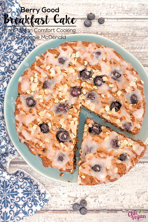 Start your day deliciously with a slice ofBerry Good Breakfast Cake from Vegan Comfort Cooking by Melanie McDonald. It's is stuffed full of healthy ingredients but still tastes like a treat, especially with the generous drizzle of sweet, tangy, yogurty frosting.