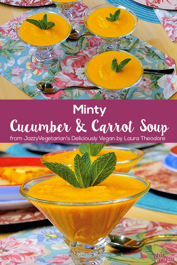 This chilled Minty Cucumber and Carrot Soup from Jazzy Vegetarian's Deliciously Vegan by Laura Theodore makes a colorful and refreshing first course, or a light and frosty summertime luncheon entrée. The beautiful orange hue, combined with a hint of mint, produces a delicate and welcoming flavor to this easy to make warm weather soup. It's dairy-free and gluten-free
