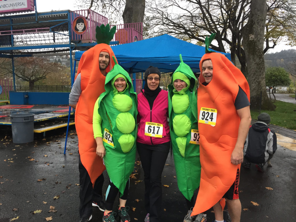 People dressed as carrots and peas at a Tofurky Trot.