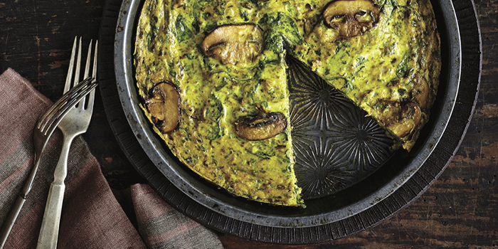 Spinach Mushroom Frittata from The Truly Healthy Vegan Cookbook
