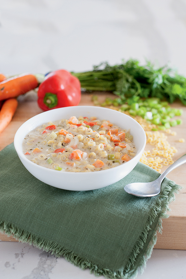 Creamy Vegetable Noodle Soup from the Meatless Monday Family Cookbook by Jenn Sebestyen