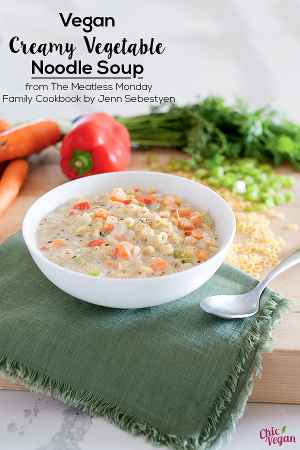 Creamy Vegetable Noodle Soup from The Meatless Monday Family Cookbook by Jenn Sebestyen will keep you warm and cozy on chilly winter days. It's a little bit like potpie filling, but in soup form. It's vegan with a gluten-free option.